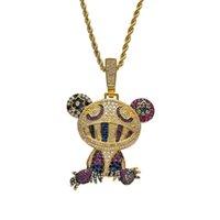 18K Yellow Gold Multi-color Iced Takashi Murakami Panda Pendant Necklace Micro Paved Zircon Mens Hip Hop Jewelry