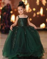 2021 Dark Green Lace Flower Girl Dresses Ball Gown Tulle Backless Lilttle Kids Birthday Pageant Weddding Gowns ZJ001