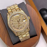 Mens Watch Automatic Mechanical Watches 40mm Stainless Steel Case Full Diamond Original Buckle Montre de Luxe