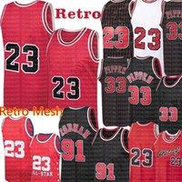 Scottie 33 Pippen Jersey Chicago Retro 23 Jersey Dennis 91 Rodman Jersey 1996 Erkek Retro Örgü Basketbol Formaları S-XXL