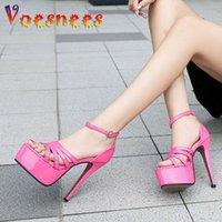샌들 voesnees 브랜드 우아한 슈퍼 하이힐 14cm 여성 연회 얇은 발 뒤꿈치 2021 섹시한 중공 아웃 플랫폼 숙녀 신발