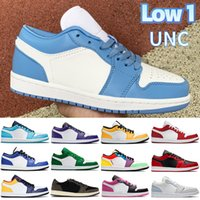 2021 Düşük 1 1 Süt Üniversite Mavi Erkekler Basketbol Ayakkabı UNC Işık Duman Gri Ters Bred Hiper Kraliyet Lazer Turuncu Kadın Sneakers Erkek Eğitmenler