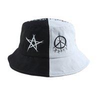 Unisex Harajuku Kova Şapka Fisher Açık Siyah Beyaz Patchwork Hip Hop Kap erkek Yaz Balıkçı Şapka Kadınlar Yeni Kemik Feminino