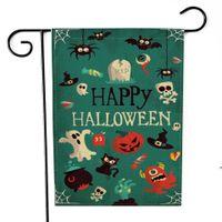 Bandiera del giardino di lino di Halloween Bandiera del giardino Trucco Ghost Bandiere della decorazione del giardino felice per i cantieri decorativi a doppia lati all'aperto FWD9518