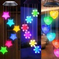 Décorations de jardin Solaire extérieure Lumière de neige Flocon de neige Ballon de particules Love Five Star Star Star Chanmeuse Changement de couleur Chandelier