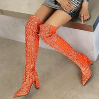 Boots Women Over Knee High Pointed Toe Pull On Thick Heels Multicolors Ladies Shoes Woman Big Size 37 39 42 43