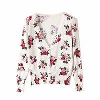 Malhas das Mulheres Tees Rosa Impressão V-Pescoço Slim Curto Cardigan Mulheres Modis Sweater 2021 Primavera e Outono Chegada Atacado Preço