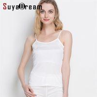 SuyadaDream Mujeres Seda Camis Real Seda Camisetas Topes De Seda Cómodo Tops Spring Verano Camis 210322
