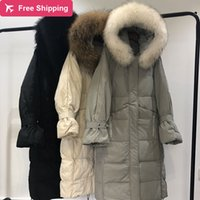 Women's duck down jacket 2019 Warm Thicked Raccoon Fur Collar Female Long Coat Outwear Women puffer jacket chaqueta mujer