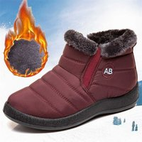 Women Boots Waterproof Ankle Low Heels Winter For Quilted Shoes Warm Snow Botas Mujer Bottines 211019