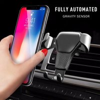 Automatic Locking Gravity Universal Air Vent GPS Cell Phone Holder Car Mount Stand Grille Buckle Type Compatible All for iPhone