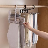 Household Multilayer Retractable Hanger Multifunctional Pants Rack Baby Hanging Drying Storage For Towel Clothes Hooks & Rails