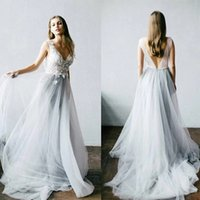 Fantastic Tulle A Line Wedding Gowns 2021 Fairy V Neck 3D Floral Lace Appliques Country Bridal Dresses Sweep Train Sexy Open Back robes de mariée Boho Garden AL9001