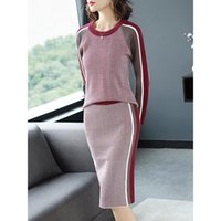 Elegant Sweater Suits Women 2021 Hit Color Stirped Plaid Knit Crew Neck Sweater+High Waist Pencil Skirt Two Piece Outfits Women's Pants