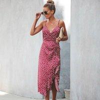 Vestido de verano MIDI para mujeres 2021 Dot Imprimir Tallas grandes Cintura alta Spaghetti Strap Slim Backless Sexy Flojo Female Casual Vestidos