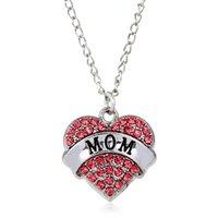 Diamond Peach Heart Colgante Collar Día de la Madre Año Nuevo Regalo Familia Collar Cristal Corazón Colgante Rhinestone Joyería de las mujeres 204 R2