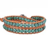 Tennis KELITCH Natural Stone Beads Boho Summer Bracelets Jewelry Handmade Female Men Leather Wrap Bangles