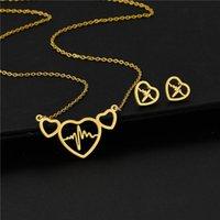 الفولاذ المقاوم للصدأ ثلاثة ربط قلوب مفتوحة تخطيط القلب القلب القلب قلادة سلسلة قلادة مجموعات قلادة للنساء مجوهرات القلائد