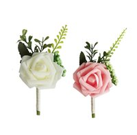 Wedding Flowers Men Groom Corsages and Boutonniere White Rose Silk Vintage Brooch Party Bridal Prom Decoration Accessories