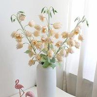 Decorative Flowers & Wreaths Artificial Flower Campanula Silk Dried Wedding Decoration Fake For Home Decor