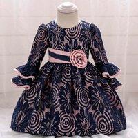 Kızın Elbiseleri Bebek Kız Uzun Kollu Dantel Çiçek Vaftiz Prenses Toddler Doğum Günü Partisi Balo Elbise Doğan Çocuk Vaftiz 1 yıl