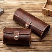 Watch Boxes & Cases Crazy Horse Leather Roll Case Portable Vintage Holder Travel Wrist Jewelry Storage Pouch Organizer