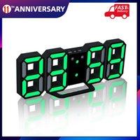 3D LED Digital Clock Glowing Night Mode Brightness Adjustable Electronic Table Clock 24 12 Hour Display Alarm Clock Wall Hanging