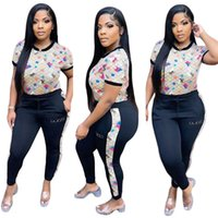 Brand Women's Tracksuits Letter Printing Two Piece Casual Short Sleeved Top and Pants Plus Size