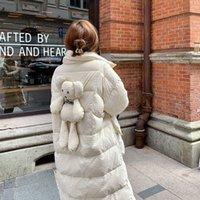 Beyaz Ördek DongSack Kadınlar 2021 Yeni Stil Stand-up Yaka Uzun Beyaz Ördek Donut Küçük Geruite Ayı Sıcak Coat Genç Lady2A8A için