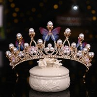 Forseven Glitter Bridal Crown Pearl Bows Design Wedding Hair Accessories Exquisite Charming Tiaras Headbands For Women Clips & Barrettes