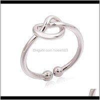 Entrega de gotas de banda 2021 Anillo infinito Simple Knuckle Heart Knot Anillos abiertos para mujeres Girl Boda Compromiso Joyería Regalo LZ788 AE45N