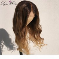 LIN MAN Ombre Lace Front Wig With Baby Hair Loose Wave 150% Density Pre Plucked Brazilian Remy Human Hair Wigs