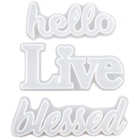 DIY Epoxy Resin Mold Word Hello Love Live Blessed Crystal Epoxys Mould Handmade Ornament Yourself for Home Office Decor ZZE5364