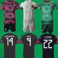 21/22 Mexique Jersey de football 2021 2022 Chicharito Vela Raul Lozano Chemises de football et pantalon Mexican Accueil Hommes Enfants Ensembles Kit de gardien de but Camisola de Futebol