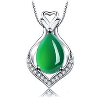 necklace Green Chalcedony Sterling Sier Pendant 925 Nelace Jewelry natural agate