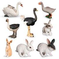 Objets décoratifs Figurines Little Swan Cock Hen Animal Modèle Rooster Poulet Figurine Miniatures Accueil Décoration Accessoires Fair