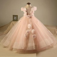Girl's Dresses Lovely Pink Handmade Flowers Girl Dress For Wedding Real Image Toddle Pageant Birthday Ball Gowns