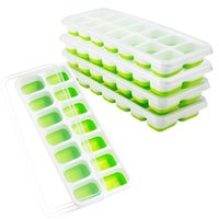 Silicone Ice Cube Trays With Lids Mini Ices Cream Tools 14 cells Refrigerated Food Tray Mold Withs Covers Green Blue HH21-256