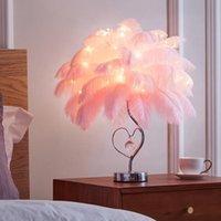 Table Lamps Children Room Pink   White Feather Lamp Boys And Girls Bedroom Romantic Led Strip Desk Birthday Gift Wedding Lighting