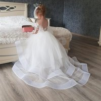 Girl's Dresses Ivory Lace Flower Girl With Long Train Tulle First Communion Toddler Birthday Princess Special Occasion Gowns