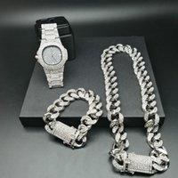 2cm Hip Hop Gold Color Iced Out Crystal Miami Cuban Chain Gold Silver Men Watch & Necklace & Bracelet Set Hip Hop King New