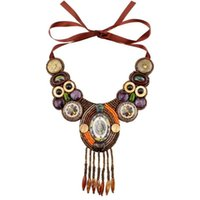 Design Mode Vintage Tibetan Button Big Chunky Statement BIB Perlen Quaste Anhänger Choker Halskette Kragen Für Frauen Chokers