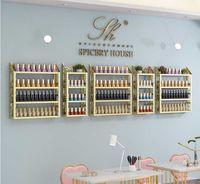 Hooks & Rails Manicure Rack Display Net Red Beauty Salon Cosmetics Store Wall Nail Polish Pencil Holder Shelf
