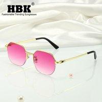 Outdoor Eyewear HBK Metall Luxus Square Frauen Sonnenbrille Mode Marke Design Half Frames Gläser 2022 Dame Hohe Qualität Männer UV400