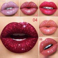 CMAADU 반짝이 플립 립글로스 벨벳 매트 립 틴트 6 색 방수 긴 지속 다이아몬드 플래시 쉬머 액체 립스틱 Q90
