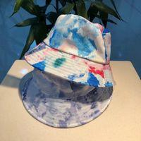 رجل مصمم المرأة القبعات الأزياء بخيل ستيك بريم قبعة مع رسائل هندسية التعادل صباغة عارضة قبعات الشاطئ المجهزة 2 ألوان عالية الجودة