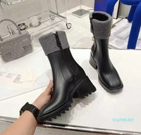 Designer Women Boots Beeled Fur High heels Knee-high tall Rain Boot Waterproof Welly Rubber Soles Platform Shoes Outdoor Rainshoes