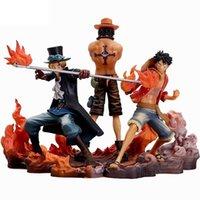 3 pçs / set anime uma peça uma peça dxf brotherhood II Monkey d porgas d di sabo pvc figuras de ação colecionável toys t30 q0722