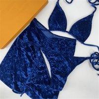 Nuevo color Velvet Trajes de baño Letra Patrón Jacquard Traje de baño de 3 piezas Set Soft Smooth Lace Up Sets Bikini para mujeres vacaciones