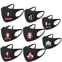 남성과 여성을위한 만화 패턴 방진 세탁 가능한 재사용 가능한 마스크와 검은 통기성 환기 오염 방지 탄성 귀걸이